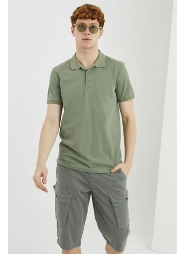 Z Giyim Pamuklu Düğmeli Polo Yaka T-shirt Haki